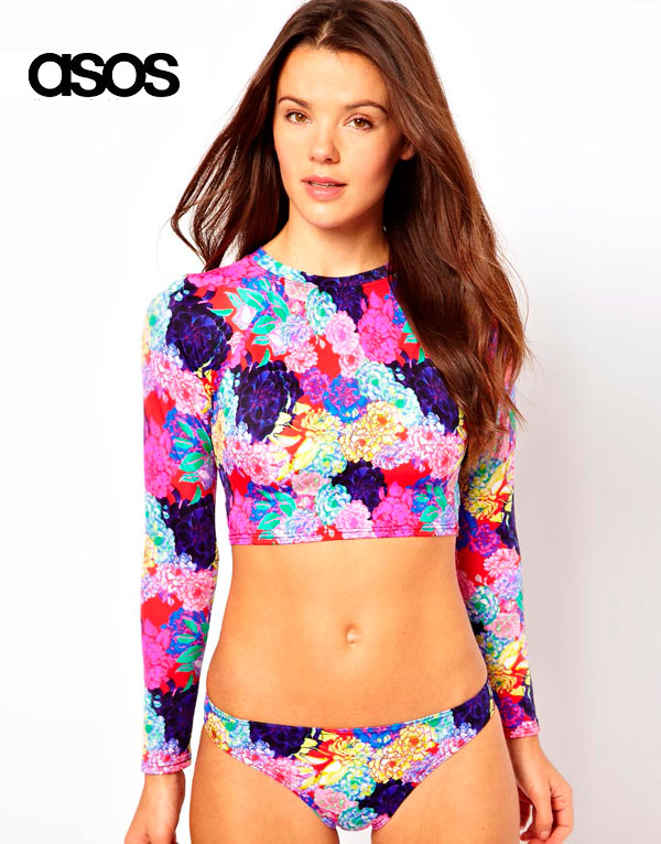 ASOS Penelope Floral Long Sleeve Crop Bikini Top